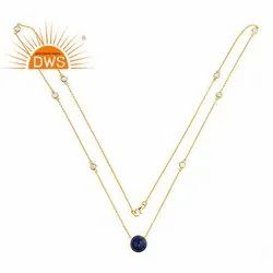 Round Lapis Lazuli Gemstone Gold Plated 925 Silver Long Chain Necklaces Jewelry