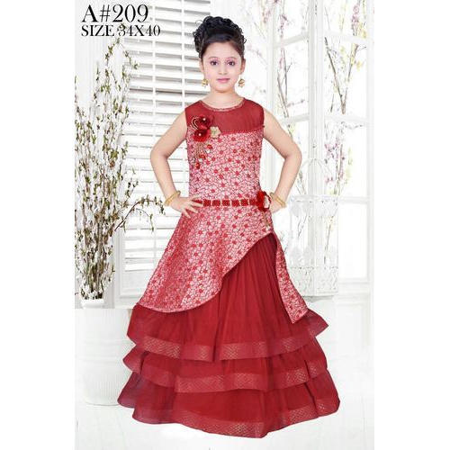 e14b749f6a Red Wedding Wear And Party Wear Kids Designer Sleeveless Gown, Size: 38 And  40