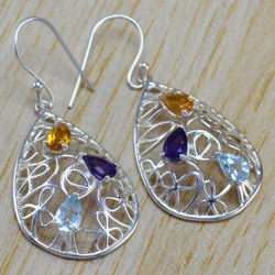 925 Sterling Silver Jewelry Multi Gemstones Earring