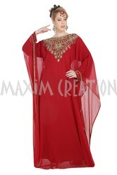 Designer Wear Red Heavy Farasha With Hand Embroidery Work