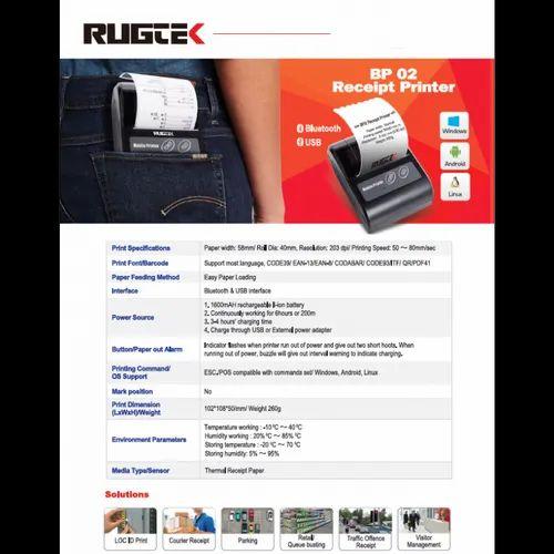 Mobile Printer - Rugtek Bp02 Mobile Receipt Printer IT