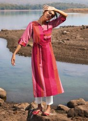 Pink Casual Wear Handloom Cotton Regular Wear Kurtis