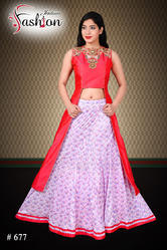 ef562ee56fabd Designer Fancy Indian Silk Pink Crop Top With Brocade Lehnga at Rs ...