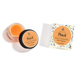 Aro Vatika Peach Organic Lip Balm (9g) , Handmade with Shea Butter and Bees Wax