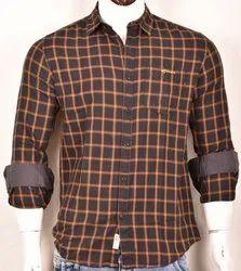 Male Casual Wear Cotton Peach Checks Shirts, 18-70