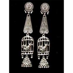 Oxidized Silver Bird Earrings