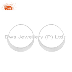 Womens 925 Sterling Fine Silver Chand Bali Shape Hoop Earrings