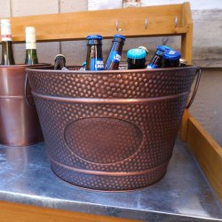Galvanized Steel Copper Antique Wine Cooler Champagne Bucket Party Tub