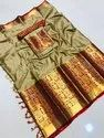 Zari Silk Bjp Indian Saree With Blouse Piece, Length: 6.3 Meter