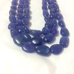 Natural Fine Tanzanite Beads Necklace Tumble