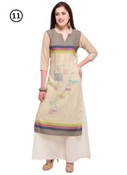 Poly Cotton Printed Party Wear Kurti