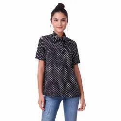 Black Half Sleeves Polka Dot Top