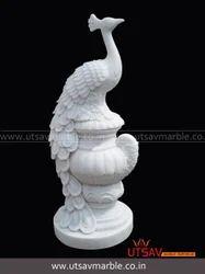 Pure white marble peacock, for Interior Decor
