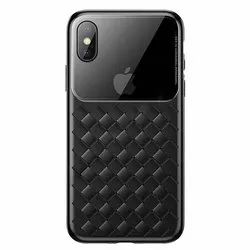 Black Baseus Glass & Weaving Case For iPhone XS MAX 6.5inch