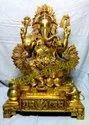 Handecor Brass Lotus Leaf Ganesh Statue, Size: 25 Inch
