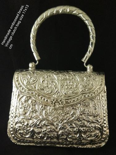 9aadd01b66f Velvet and Brass Silver NK Handmade Embossed Brass Vintage Clutch Purse  Evening Bag