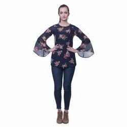 Round Neck Casual Ladies Printed Georgette Tops