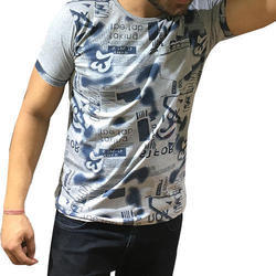 Casual Wear Round Mens Fancy T-Shirt, Packaging Type: Packet