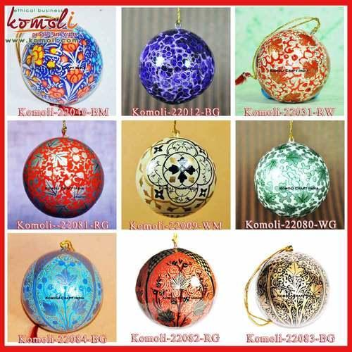 Balls Baubles Komoli Hand Painted Handmade Indian Christmas Ornament