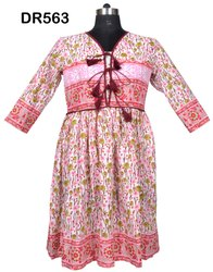 Cotton Hand Block Printed Women Short Maxi Dress DR563