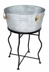 Galvanized Beverage Party Tub With Iron Stand