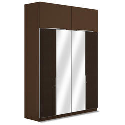 Faux Leather And Mirror Finished Double Wardrobe