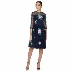Party Wear Rose Embroidery Navy Tulle Dress