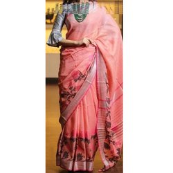 Casual Ladies Cotton Printed Saree, Packaging Type: Plastic Bag