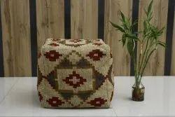 Vintage Poufs Jute Wool Kilim Pouf Hand Woven Kilims Foot Stool Ottoman Pouffe Cover