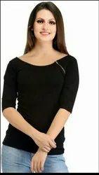 Plain 3/4th Sleeve Black Cotton Hosiery Zipper Trendy Top