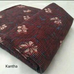 Top Printed Katha Work Cotton Dress Materials, Size: Medium