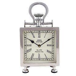 Silver Aluminum Table Clock