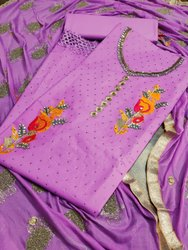 Heavy Cotton Salwar Suit With Diamond Work