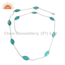 Aqua Chalcedony Gemstone 925 Silver Womens Chain Necklaces
