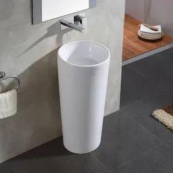 Aquant Ceramic Round Pedestal Wash Basin for Bathroom