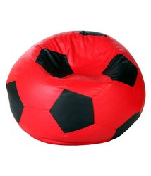 Leatherette Made In India Football Black and Red Bean bag