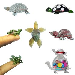 Glass Artifact- Double Decker Colorful Pebbles Filled Turtle
