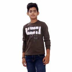 Brown Kids Poly Cotton T-Shirt
