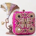 Silk Dabka Work Pink Box Clutch