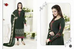 Green Crepe Silky Salwar Suit Fabric