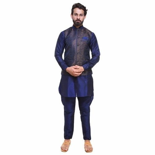 7277d75241 Dupion Silk Short Mens Kurta Pajama With Nehru Jacket, Rs 1250 /set ...