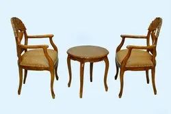 Wooden (Frame) Microfiber Table Chair Set, Seating Capacity: 2 Seater