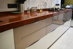 Plywood Artificial Marble Wooden Modular Kitchen, Warranty: 5-10 Years, Kitchen Cabinets