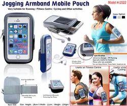 Canvas Cotton Plain Jogging Armband Mobile Pouch H-1522