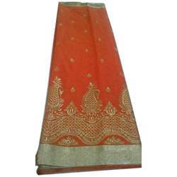 Casual Wear Embroidered Womens Orange Chanderi Silk Saree, 6.5 m, With Blouse Piece