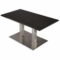 Stainless Steel Black Restaurant Dining Table, Size: 24 * 42 * 30