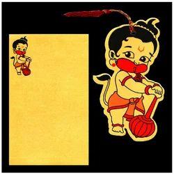 Gold Bal Hanuman Birthday Invitation Card