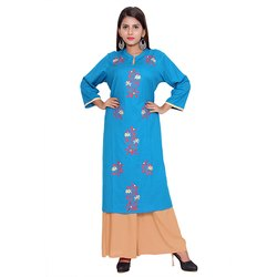 Blue and Brown Cotton Flex Kurti