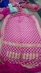 Pure Banarasi Georgette Junglo Bandhani Saree With Blouse Piece