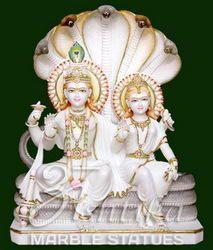 White Makrana Marble Vishnu Lakshmi Statues